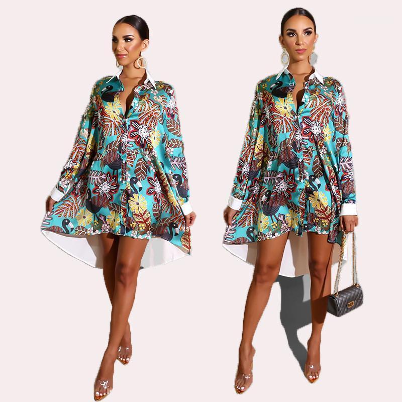 Lapela Designer Fashion Dress Flora Impresso Neck assimétrica Dresses New Arrival das mulheres Vestidos Autumn New Mulheres