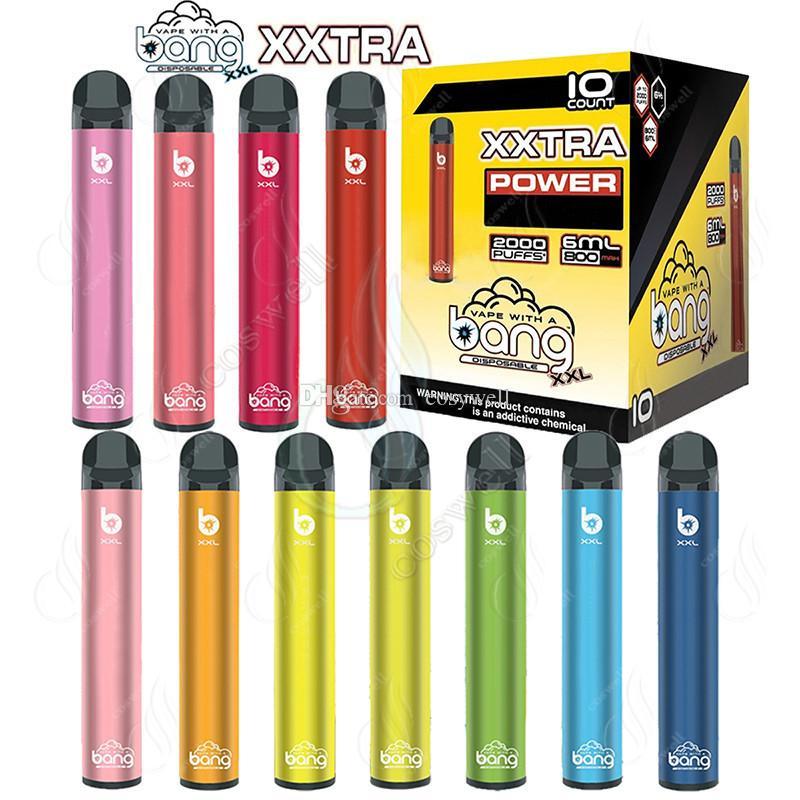 El más reciente de dispositivos de Bang XXL XXTRA 2000Puffs desechable Vape pluma 800mAh energía de la batería precargada 6 ml vainas de cartucho de vapor Ecigs portátil vaporizador