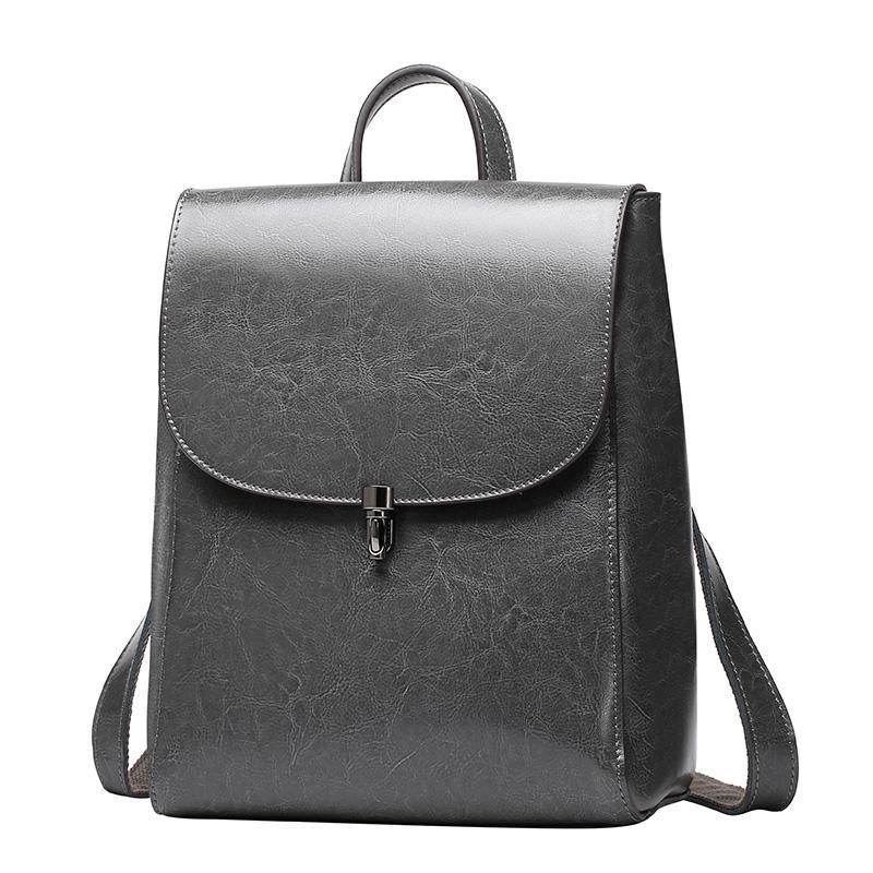 Ladies mochila estilo senhoras britânicas multifuncional saco do mensageiro bolsa de ombro viagens de lazer selvagens couro cinza mochila gift002