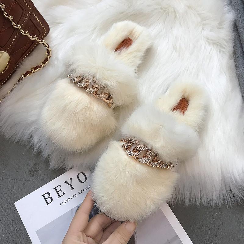 O deslizamento das mulheres Fur chinelos mulas Winter Home Plush Chinelos Women Flat Shoes interior Cadeia zapatos de mujer frete grátis metal