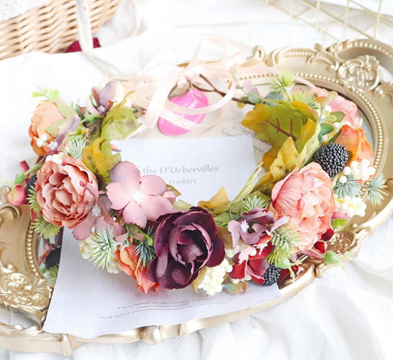الزهور الزفاف اكليلا من الزهور تاج بوتيك الفتيات الزهور ستيريو رقة القيقب أميرة إكليل الأطفال هالوين hairbands A4017