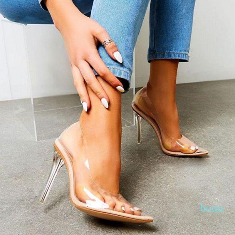 Heißer Verkauf- 35-42 Frauen Klar PVC Transparent Pumps Sandalen Perspex Heel Stilettos High Heels Punkt Toes Party Schuhe Nachtclub Pump