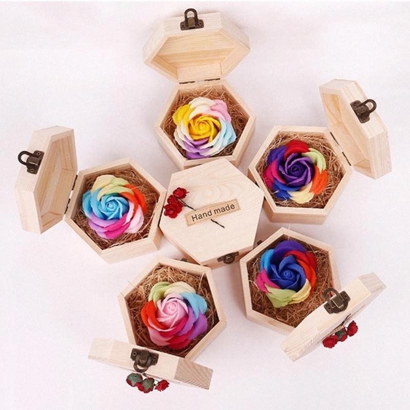 Kalp Şeklinde Ahşap Kutu Sabun Çiçek Simülasyon Renkli Gül Küçük Ahşap Kutu boyutu 12.8X7cm sabun çiçek ve ağaç düğün hediyesi 46ZH #