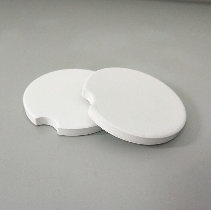 Automobil-Keramik-Untersetzer Blank Keramik kreative Notch Mat Weiß Kissen Coasters Teacup Wohnkultur Zubehör 6.6 * 6.6cm YL198