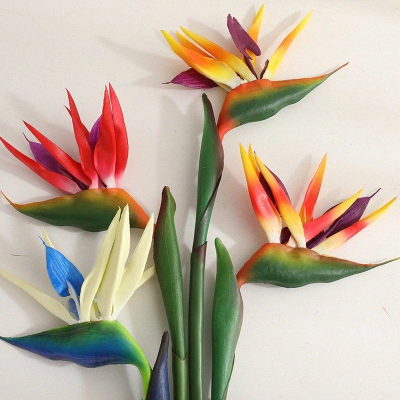 Искусственный цветок райская птица Стрелиция пола Поддельный цветок Feel Green украшения комбинатом Номер партии Свадьба 80см BsUU #