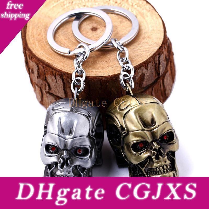 O Terminator Moive Jewelry cabeça do crânio Keychain 3 cores Alloykey Anéis Keychain Para Presente Hot Sale