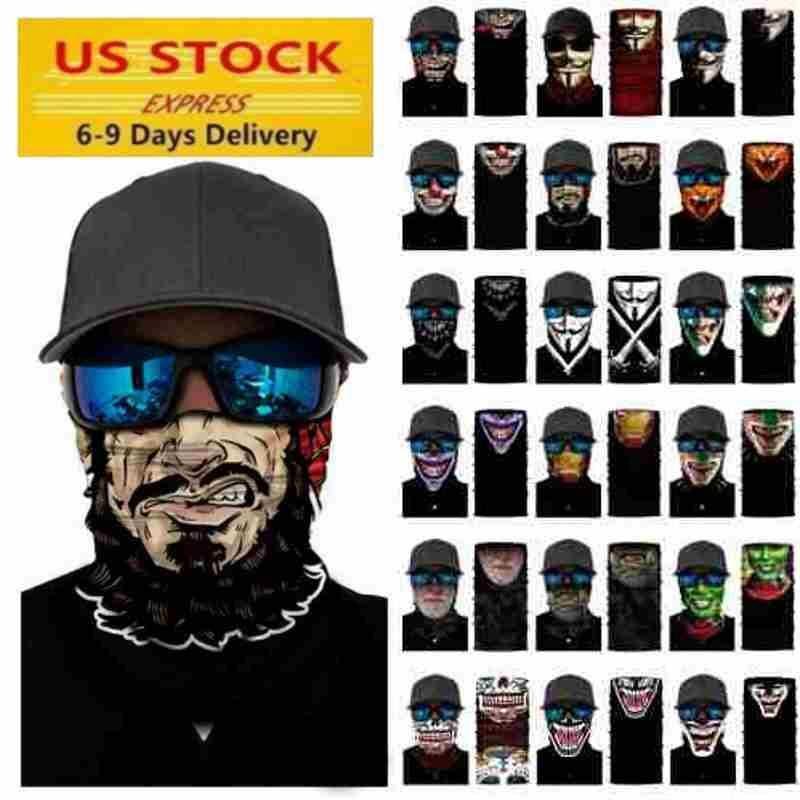 На складе косплей велосипедов Горнолыжной Череп Половина лица Покрытие Хэллоуин маска привидение шарф банданы шея Теплее партии оголовье Волшебного тюрбан