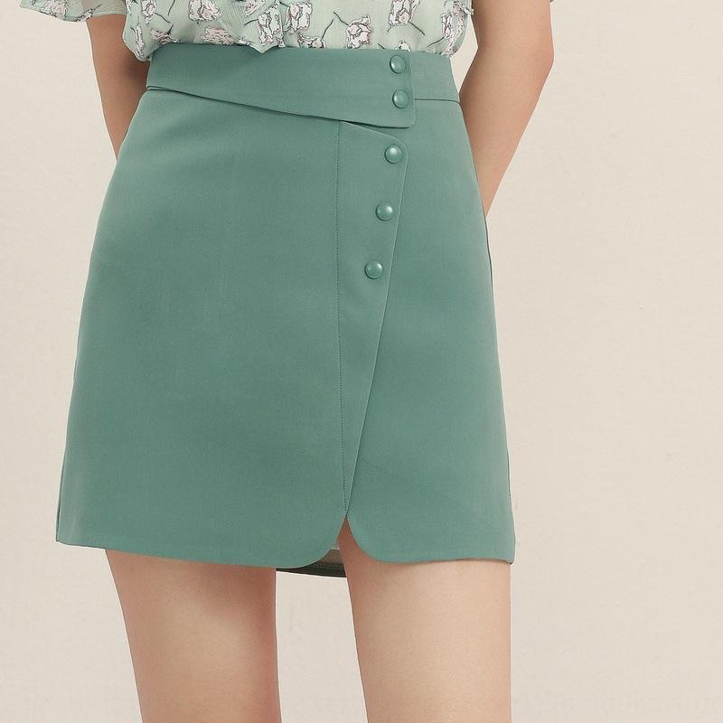 15mqx 2020 estate nuova boutique delle donne vestiti leggeri di stile coreano maturo vita alta di colore solido dell'anca dimagrante A- A- gonna linea abito linea A-