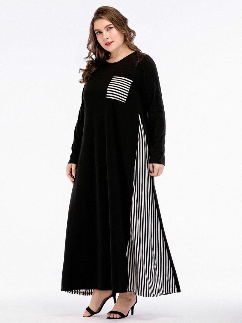 Casual Maxikleid Gestreiftes Voll Abaya Hemd Patchwork lose lange Robe-Kleid Vestido Muslim Kimono Mittlerer Osten Islamische Kleidung AOSH #