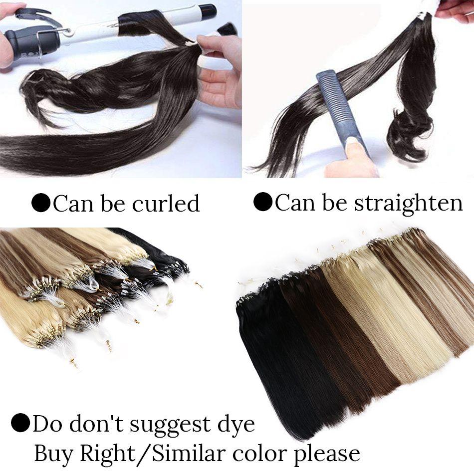 MRSHAIR Hetero laço Micro Anel Cabelo Micro Bead Ligações Remy extensões do cabelo 14-24 Inch 1g / pc 50pcs Brown Loira Preto Pure Color