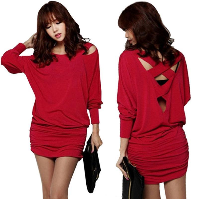 Vestito da autunno Maglia a manica lunga più i vestiti partito formato del vestito rosso sexy di Natale nero eleganti signore ufficio vestono vestiti delle donne T200819