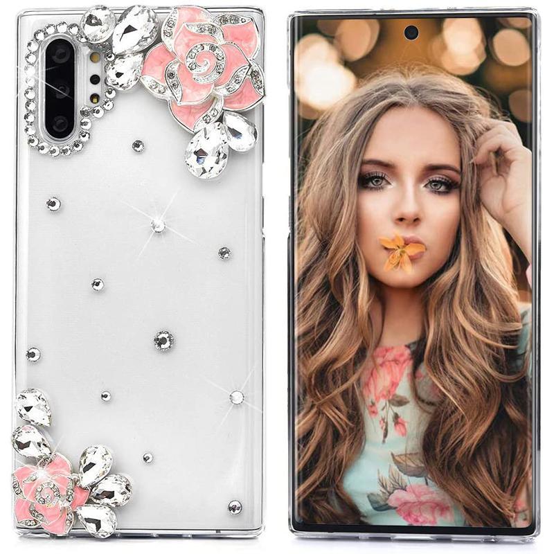 Luxe de diamant de Bling Camélia fleur coque pour iPhone 12 11 Pro Max XR XS 8 Samsung S10 S20 plus Note 10 20 Ultra A01 A11 A21 A31 A51 A71 5G