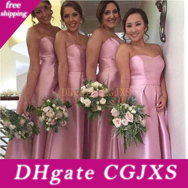 2020 Элегантный High Low Простой невесты платья для свадьбы Милая атласная чай Длина Плюс Размер A -Line Дешевые