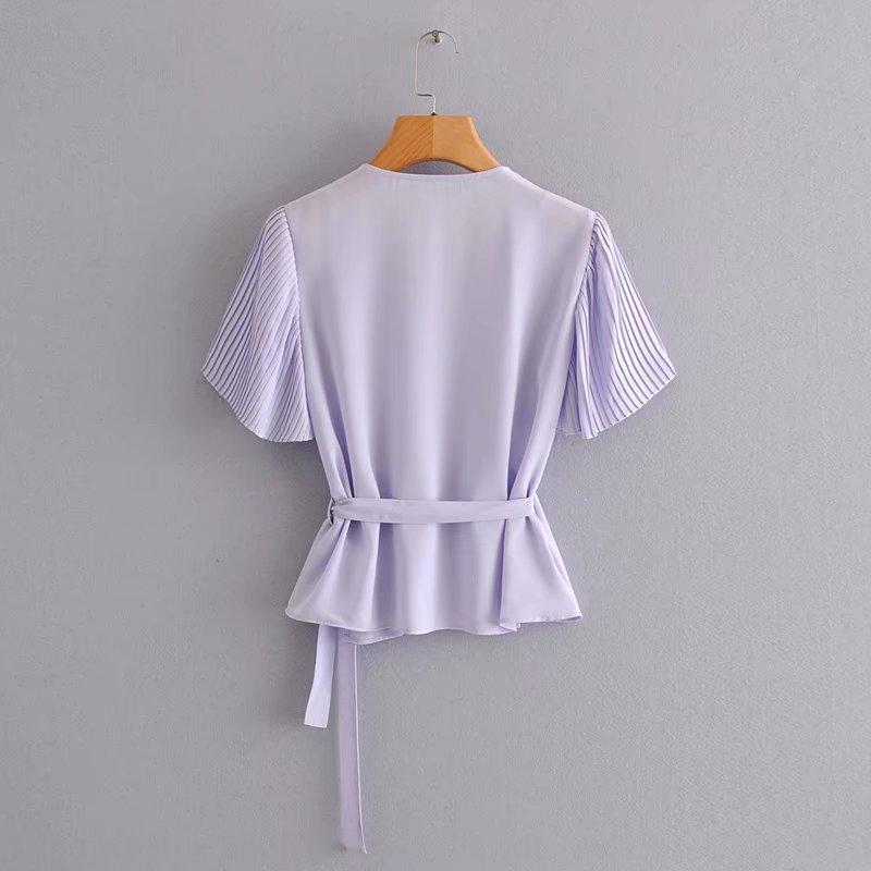 MqyJf M4612-vent porter féminin 2020 été nouveau manches lacées côté col V chemise coutures chemise plissée pour les femmes