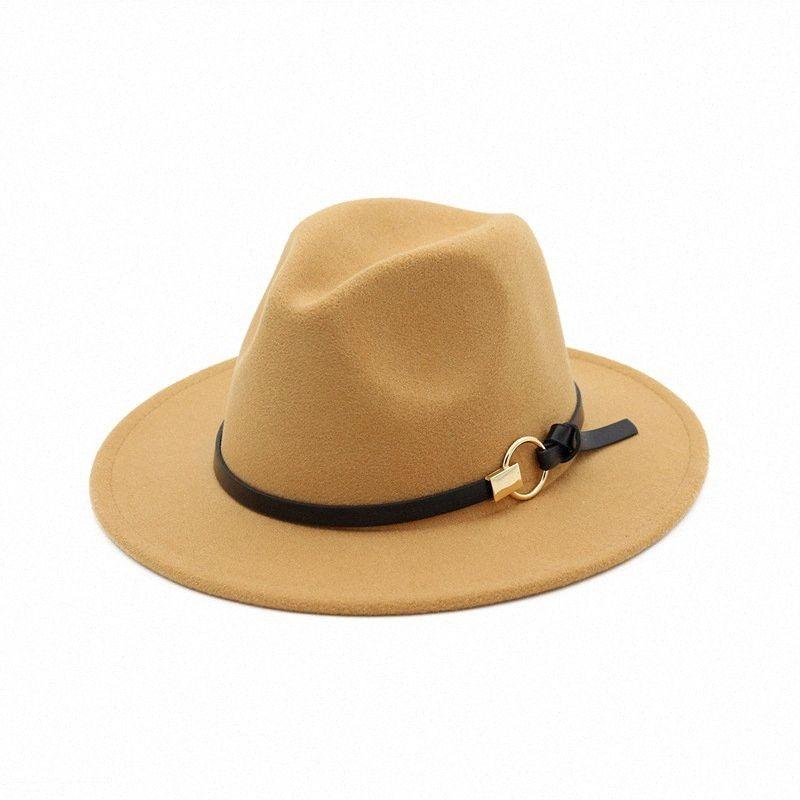 5pcs! Mode TOP chapeaux pour hommes Mode féminine élégant feutre solide Fedora Hat plat large bande Brim chapeaux Jazz élégant Trilby Panama Casquettes 7exL #
