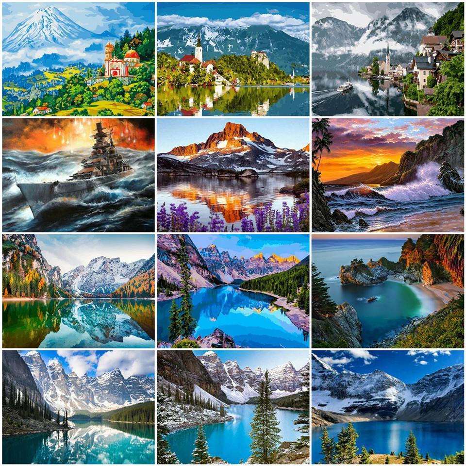 AZQSD DIY Coloring nach Zahlen Berg Handpainted Geschenk Unframe Ölgemälde durch Zahlen Landschaft Hauptdekoration 50x40cm