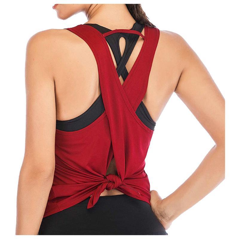 Cross Gym Tops Athletic Fitness Vest T-shirt allenamento shirt Yoga Vest Sport Canotta senza maniche Backless Women # G3