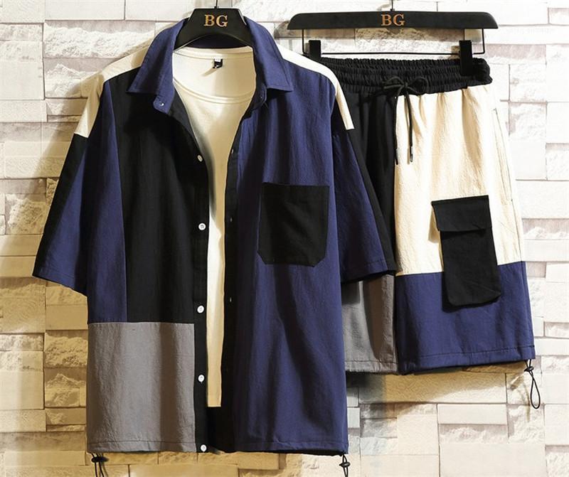 2adet Giyim Erkek Yaka Boyun Giyim Erkek Moda Hırka Tracksuits Patchwork Tasarımcı Cep Gömlek Pantolon ayarlar