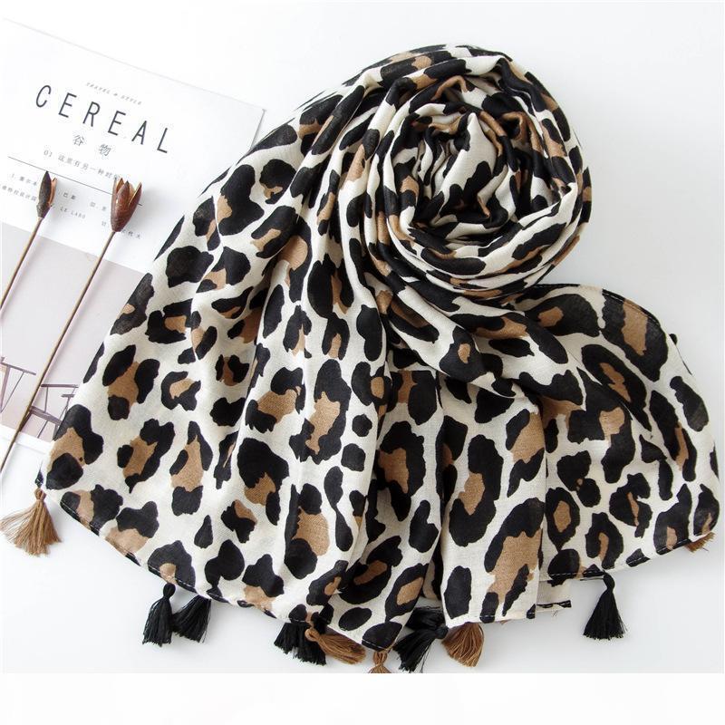 2019 del leopardo delle donne della stampa di modo sciarpa 180 * 90cm Leopard Stole sottile Warm Cotton Grande scialli e foulard avvolge femme cachecol Accessori
