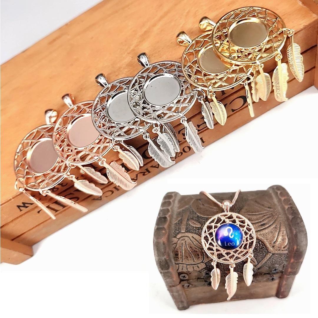 Accessori per gioielli fai-da-te 12 Constellation Dreamcatcher Brackets Time Gem Sublimation Pendente in bianco per la collana di stampa a trasferimento a caldo