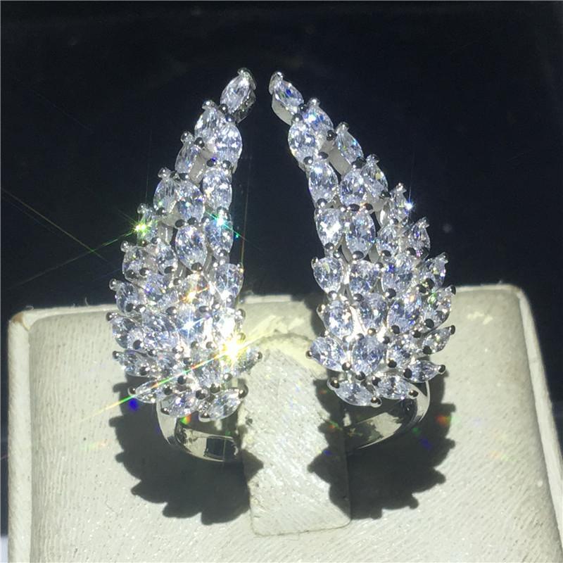choucong alas de ángel anillo de diamante simulado cz joyería 925 anillos de plata esterlina anillo de matrimonio de compromiso para las mujeres c0924 joyería del partido