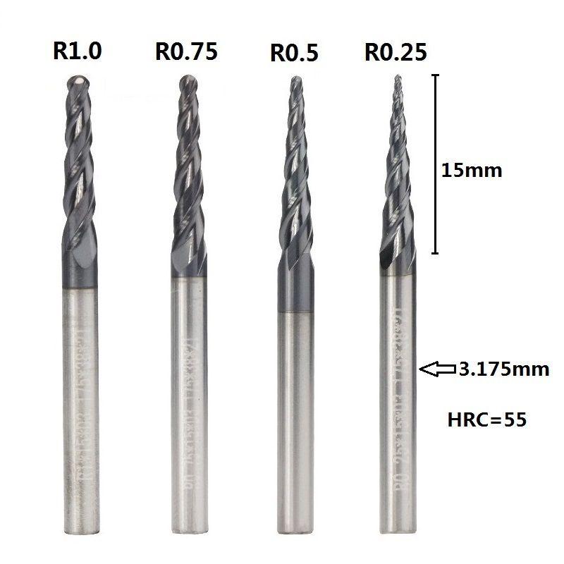 1pc R0.25 / R0.5 / R0.75 / R1.0 3,175 mm Schaftkegelkugelfräser Carbide Holzstich Bit CNC-Fräser Fräser