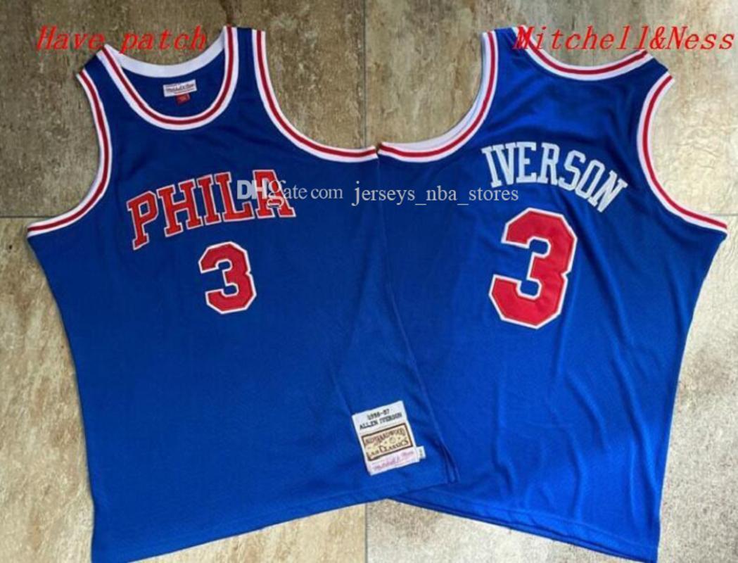 Мужская БаскетболФиладельфия76ers Аллен Айверсон Mitchell Ness 1996-97 синий Swingman Джерси и Pant 01