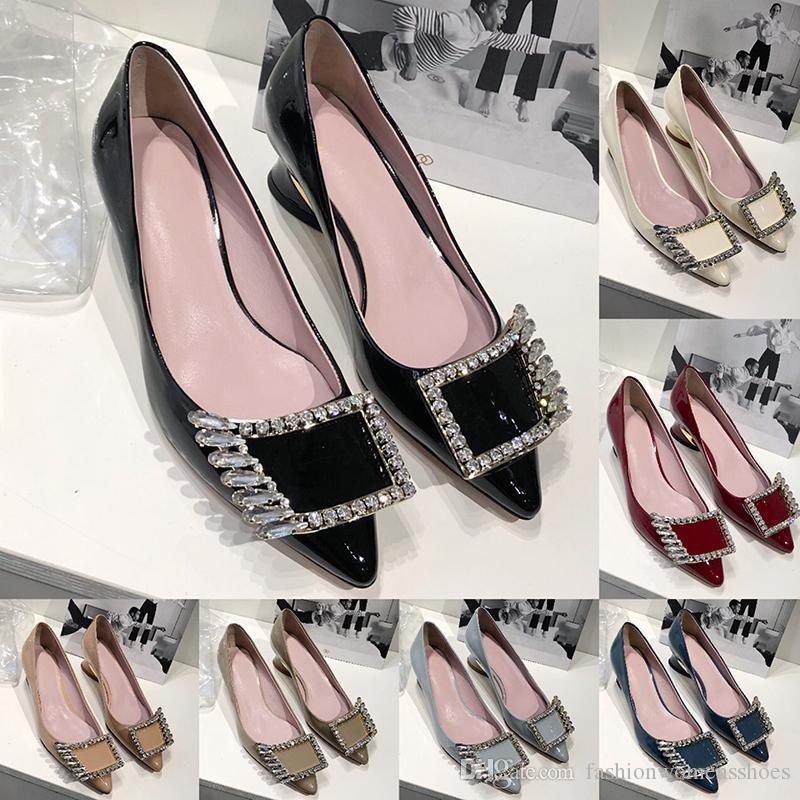Salto 2020 Moda Top Womens Shoes alta Schuhe com strass Botões de couro genuíno sola sapatos de casamento casamento Chunky Calçados nupcial