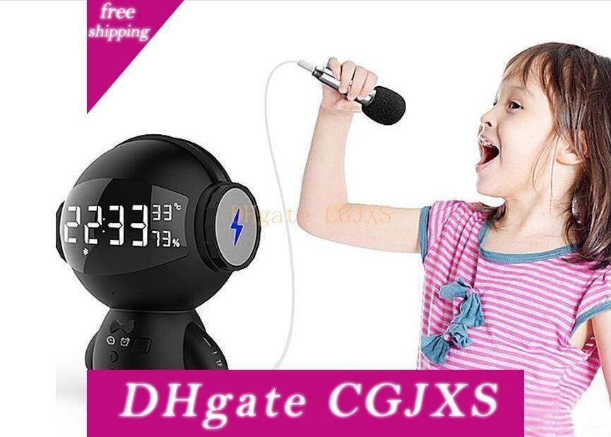 Linda del robot inalámbrico inteligente del reloj de Bluetooth con el micrófono de Radio despertador de la temperatura Dormitorio Oficina Decoración Hg9086219