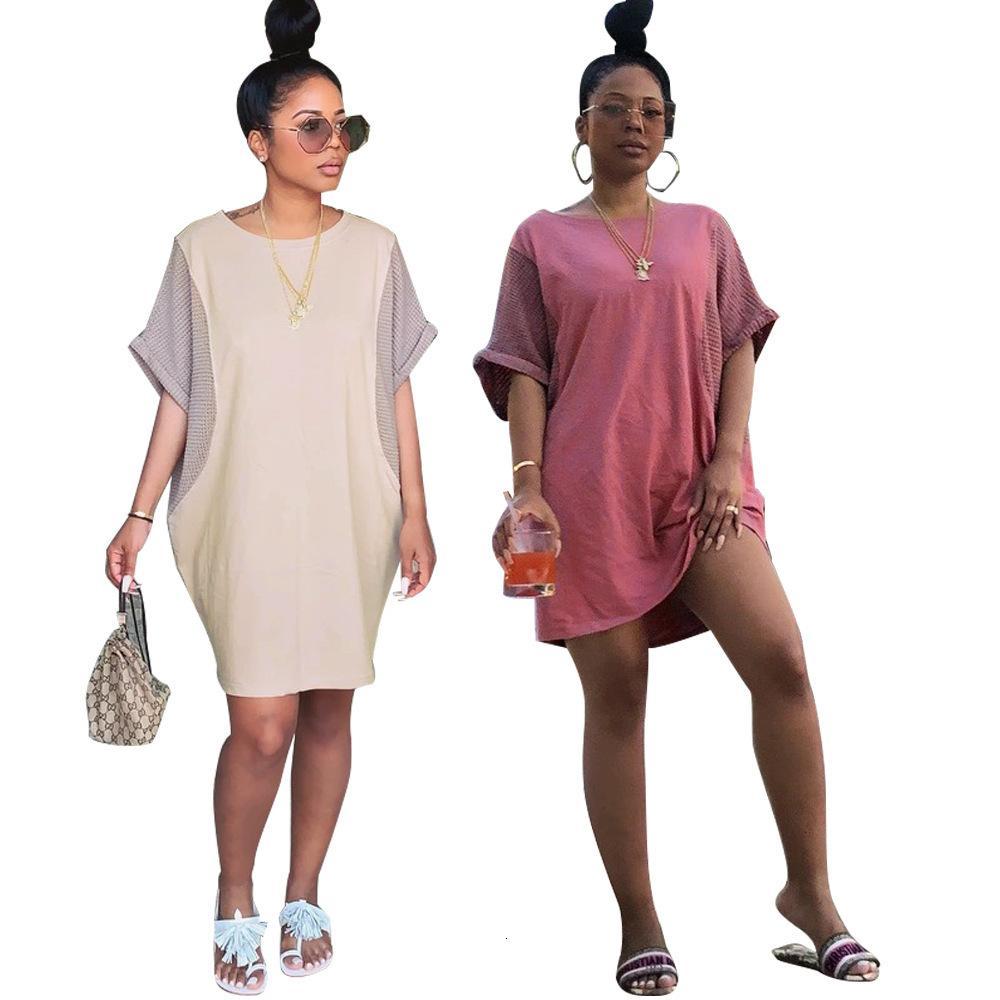 Soltas manga curta T-shirt ocasional de 2020 Verão New Mulheres Patchwork vestido Mulheres acolhedores Mini vestidos