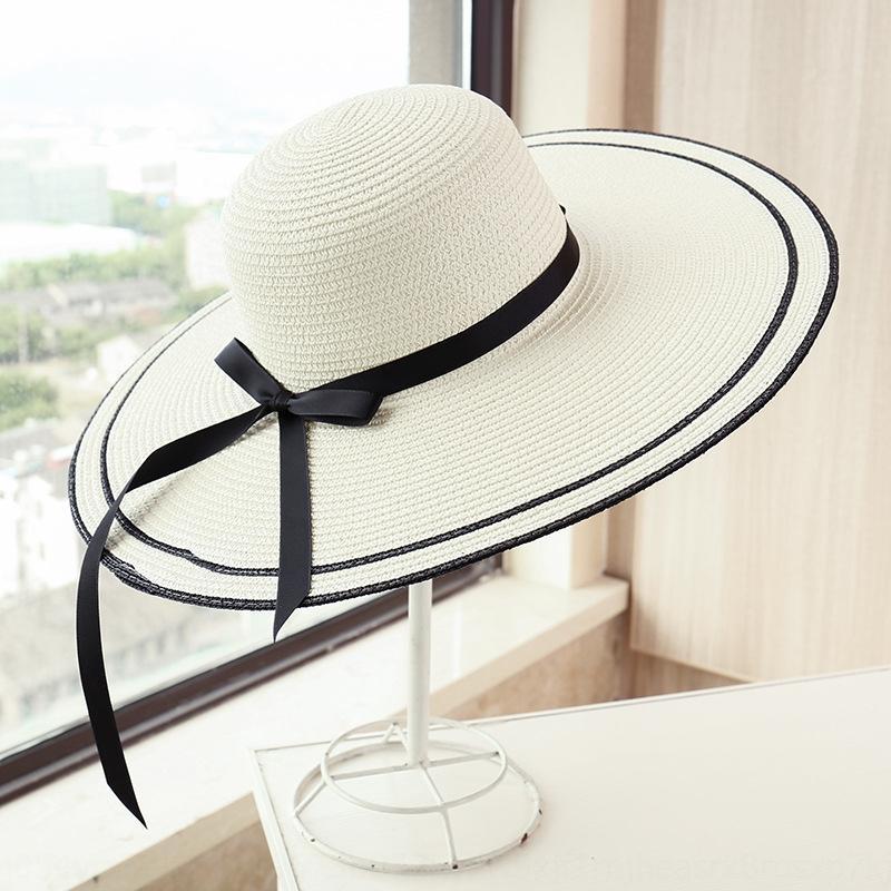 el verano dulce de la manera de playa sombrero de paja plegable salida sombrero de paja a prueba de sol de las mujeres