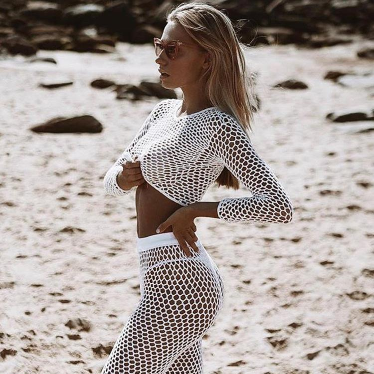 Mesh Beach See Through Fishnet Long Sleeve Blouse And Long Pant Women Sexy Bikini Beach Cover-up Paereo Swimwear Cover Outfits T200809
