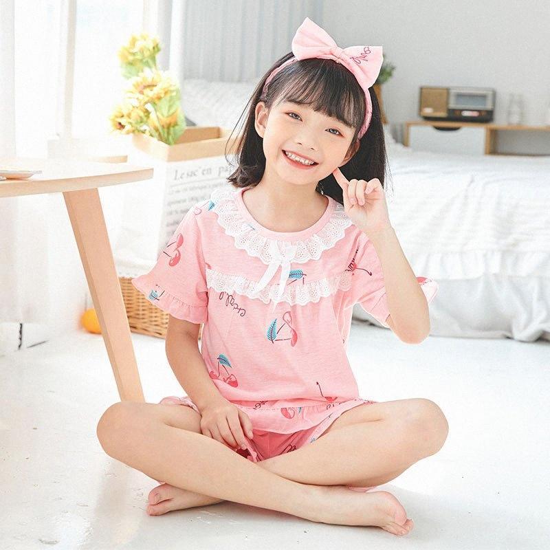 3-14 Yrs do desgaste da menina BIG Verão manga curta Algodão Pijamas Define bonito Girl Impressão Pijamas Set Crianças pano Homewear cabelo gratuito Banda WSIX #