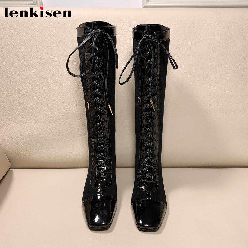 Lenkisen Британской паствы моды стиля кожа корова лоскутных сапоги квадратная ноги меда пятка зашнуровать ZippeR женщин высоких сапоги L11