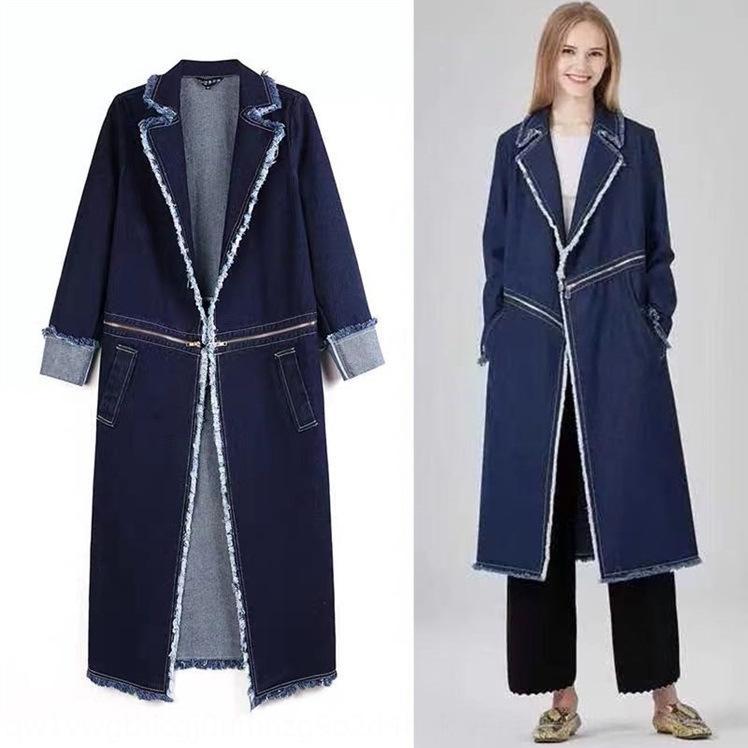 JzNGf Oferta especial high-end denim zipper lapela das mulheres das mulheres sobre Windbreaker revestir o joelho longo casaco
