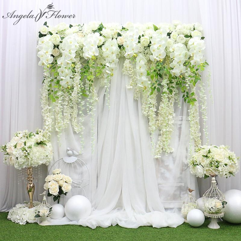 Luxo personalizado 150CM Big Arfiticial Flor Row Wisteria Orchid Fundo Wedding Party Decor Stage Evento Branco Rosa Recados