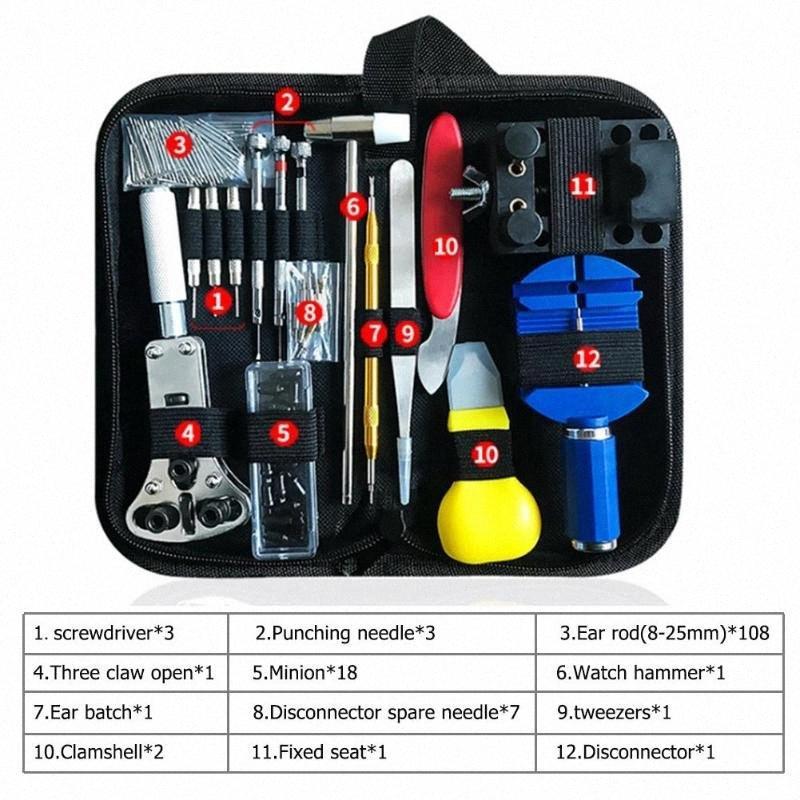 147PCS Uhr-Reparatur-Werkzeug-Kit-Uhr-Verbindungs-Remover-Kasten-Öffner-Frühlings-Stab-Remover horlogemaker Gereedschap Repair Tool Kit WSPT #