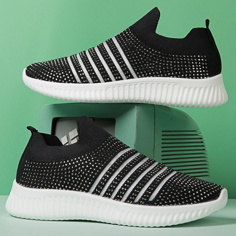 Yürüyüş Plus Size 35-43 Light Sneakers Kadınlar Nefes Mesh Vulkanize Ayakkabı Açık Düz Kayma-On Çorap Ayakkabı Kadınlar
