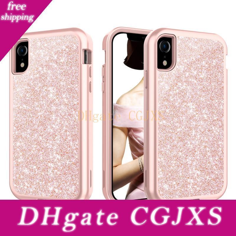 Для Iphone ХГ Case Luxury Glitte Bling 3в1 Heavy Duty Hybrid Defender Case для Iphone ХГ Xs Max
