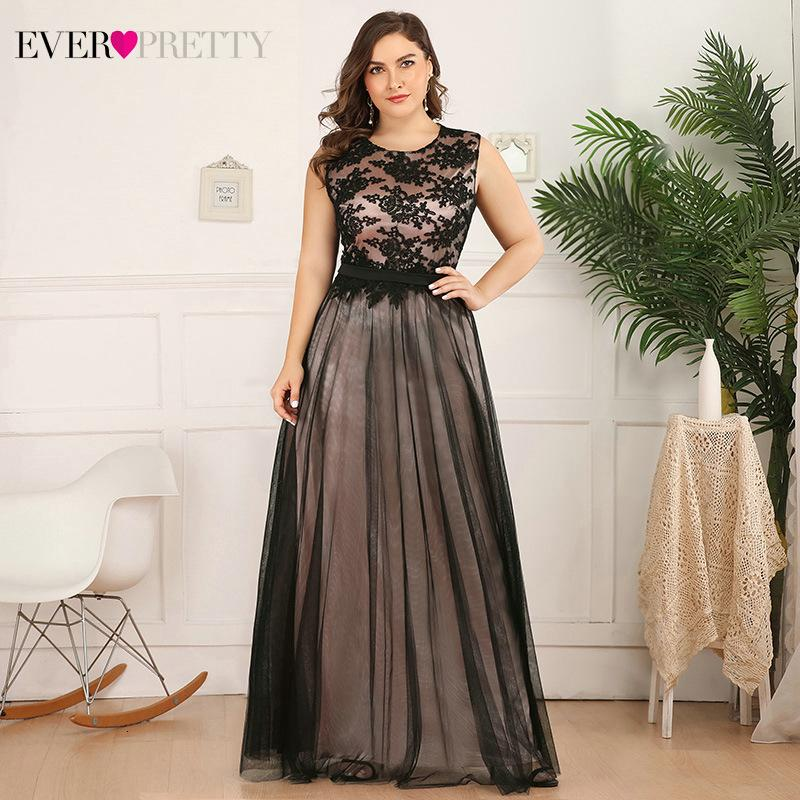 Plus Size Lace Evening Dres Longo Já Linha Bonita-O-Ne Sleevel apliques Tulle formal do partido vestidos Robe De Soiree 2020