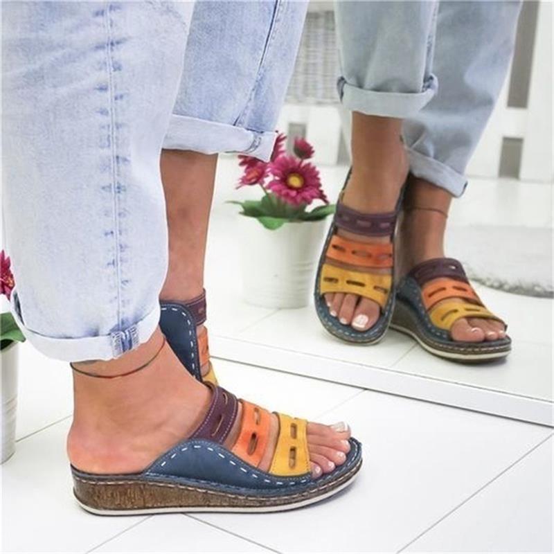 Летние тапочки женщин плюс размер обуви Клин моды удобные тапочки NEW пятки обувь женщина тапочки женские