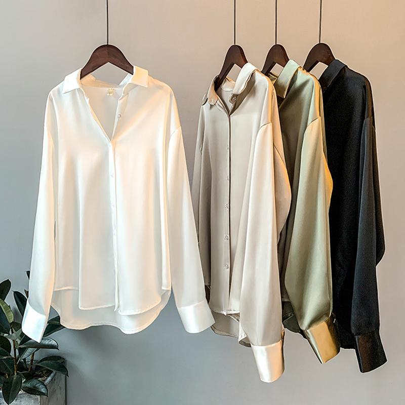 Mode Button Up Satin Seide Shirt Bluse Frauen Vintage Weiße Langarm Hemden Tops Damen Elegante Koreanisches Bürohemd 200928