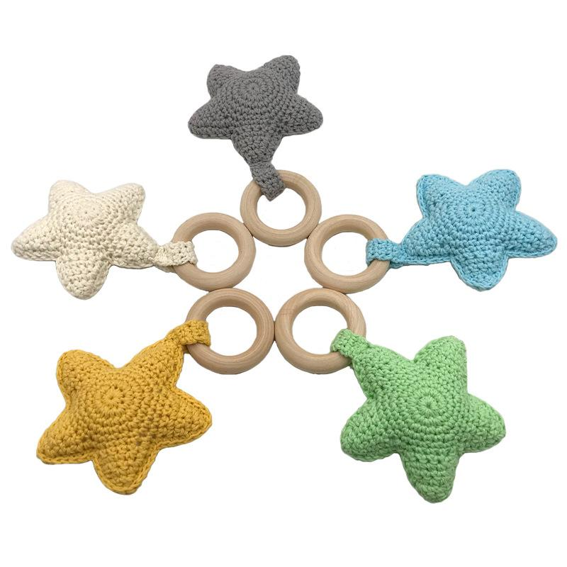 50mm Handmade Cute Beech Wooden Crochet Sensory Star Baby Teether Teething Ring Toy Bpa Free Wholesale 2020