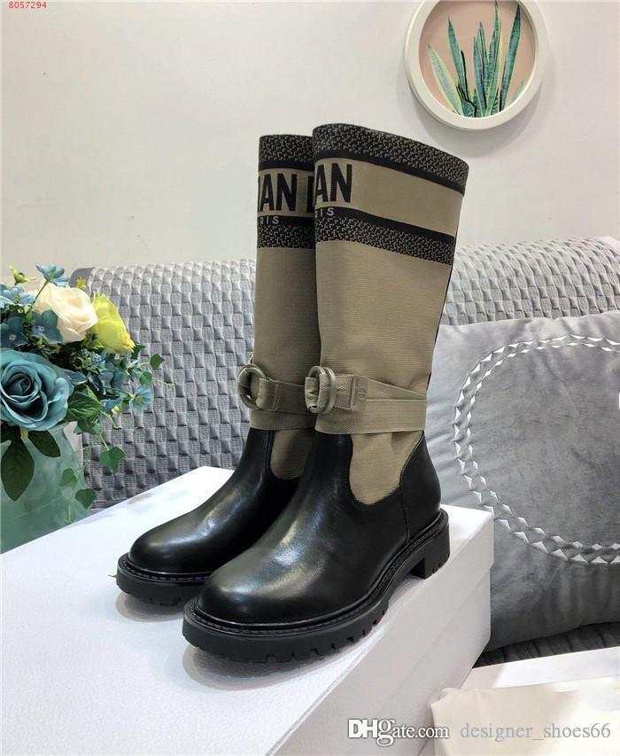 chaussettes cuir nouvelle collection automne hiver kaki toile bottes chevalier dame talon bas semelles épaisses bottes en cuir, l'emballage haut de gamme d'origine
