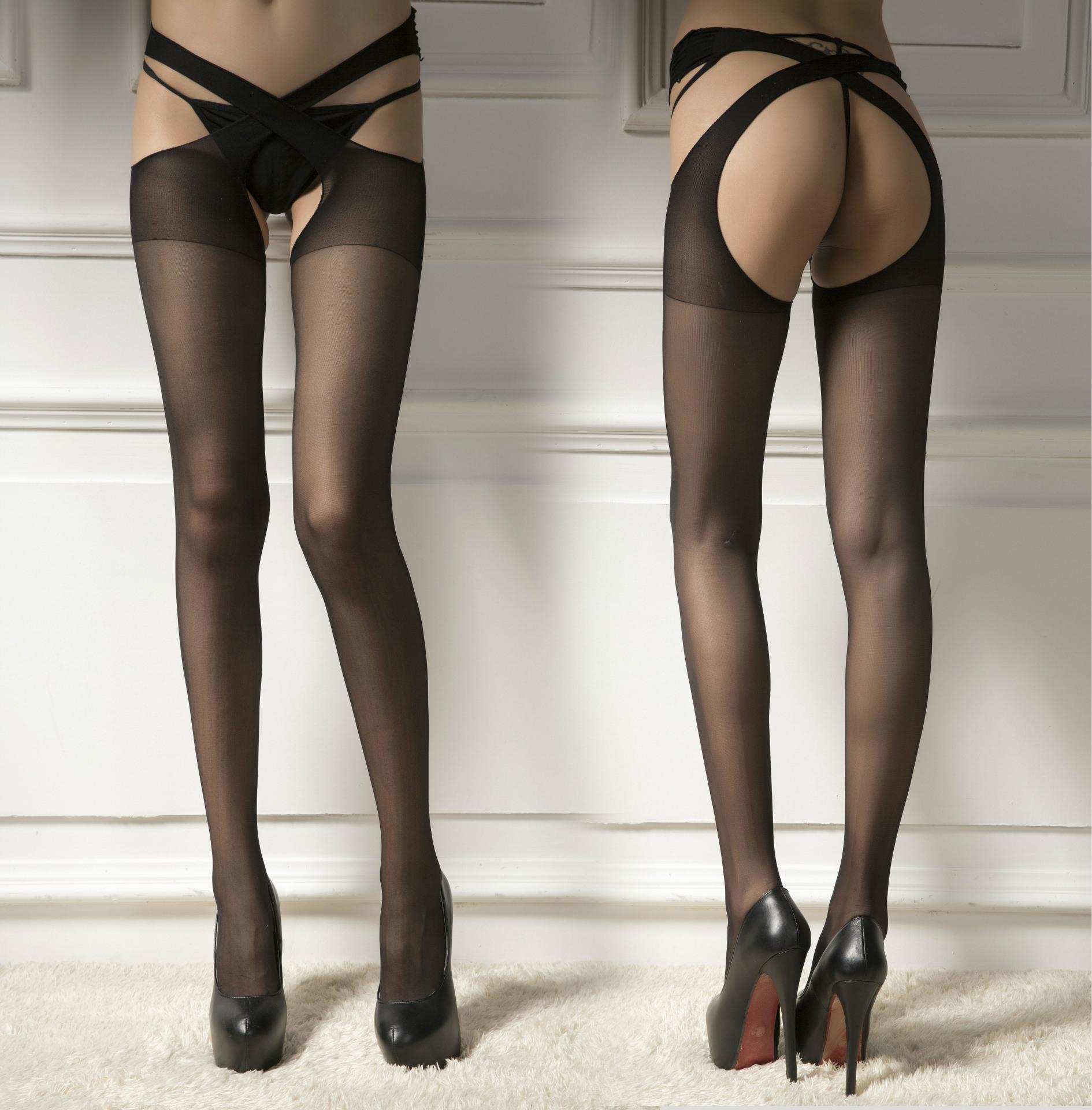 sexy calze traversa-cinghia con calze e collant aperti ghette e pantyhose attrezzi su quattro lati trasparenti calzini bambini liberi