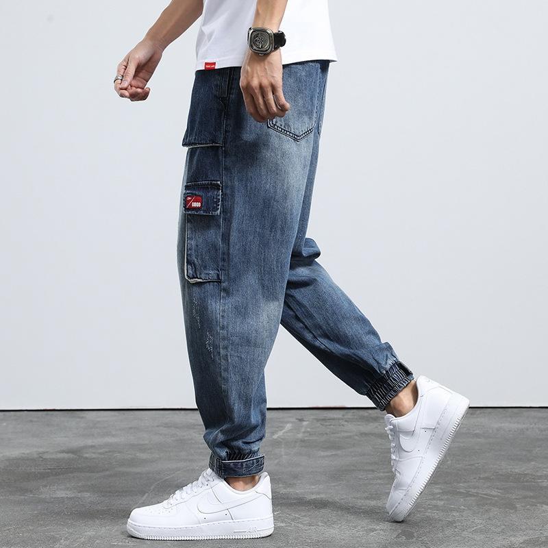 2020 Yaz Ayak bileği uzunlukta ve kot yeni moda marka harem pantolon erkek gevşek ayak bileği-bağladılar çok cepli kot erkek kırpılmış pantolon x2cQP