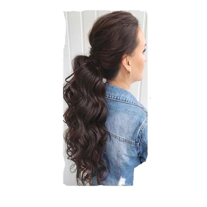 Belleza larga floja pieza de pelo de maíz con cordón cola de caballo ondulada extensión del pelo humano 22inch para las mujeres negro marrón 160g