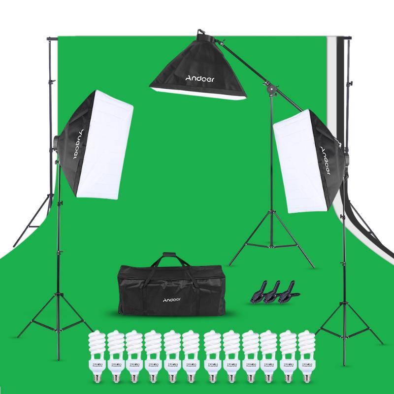 Andoer Photo Studio Kit 12 LED 45W Photographic Lighting Kit камеры Фото аксессуары 3 свет стенд 3 софтбокс для камеры