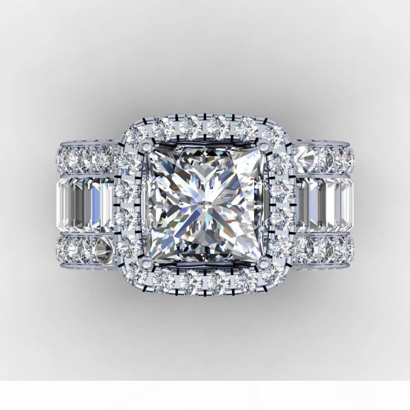 Anello Vintage Lovers Corte 3ct Diamante 925 fascia di nozze di fidanzamento in argento Sterling per gli uomini delle donne Finger gioielli regalo