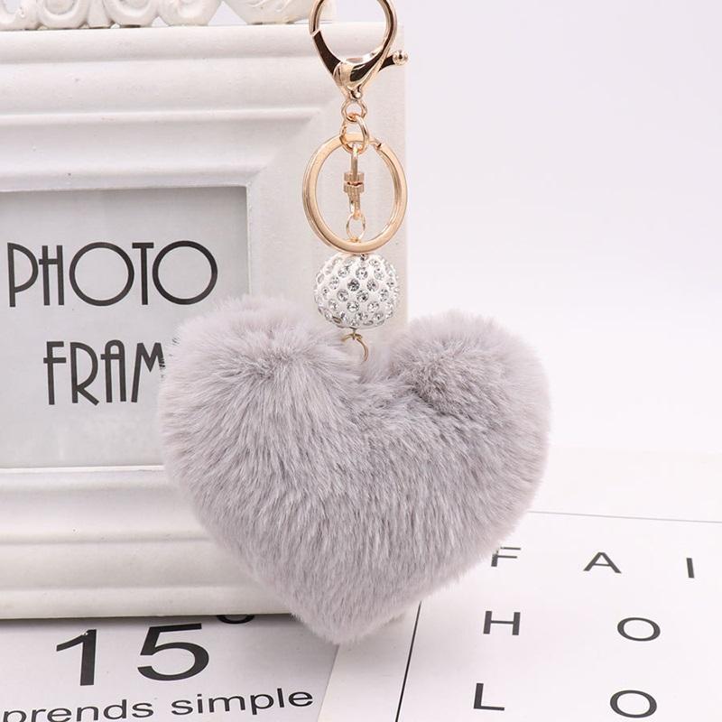Lovely Heart Shaped Keychian Pom Poms Imitation Fur Ball Toy Doll Bag Car Key Ring Monster Keychain Crystal